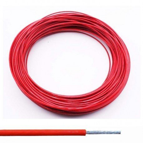 Cable de acero plastificado de PVC Rojo - 4MM