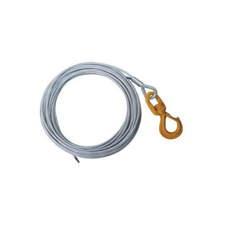 Cable de acero con gancho de pestillo para cabrestantes - Diámetro 12